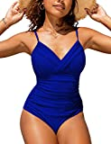 Hilor Women's One Piece Swimsuits Front Twist Swimwear V Neck Shirred Bathing Suit Monokini Royal Blue 8
