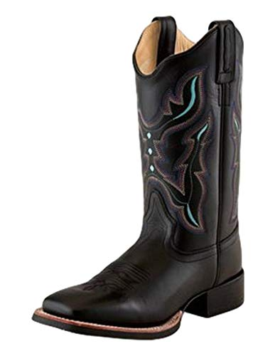 Old West Black Womens Leather 11in Scallop Cowboy Boots 10M