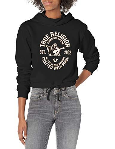 True Religion Women's Buddha Mock Hood Tie Front Hoodie, Black, Medium