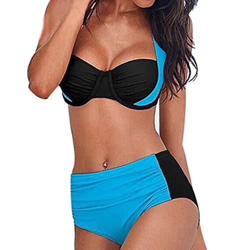 Riou Bikini Damen Set Push Up High Waist Sexy Bikini Oberteil BH mit Bügel Bandeau Neckholder Sommer Beach Bademode Schwimmwear