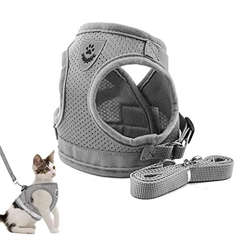 Adsshopp Harnais pour chat, réglable, doux, laisse à poitrine, pour animaux de compagnie / chiot, gris, tailleS