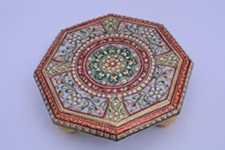 Ashtcone Shape Marble Meenakari Work Chowki Worship Table