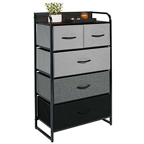 mDesign Tall Dresser Storage Chest - Sturdy Steel Frame, Wood Top & Handles, Easy Pull Fabric Bins, Organizer Unit for Bedroom, Entryway, Closet, Textured Print, 5 Drawers - Gray/Multi-Color Black