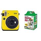 Fujifilm Instax Mini 70 - Cámara analógica instantánea (ISO 800, 0.37x, 60 mm, 1:12.7, Flash automático, Modo autorretrato + m Instax Mini Brillo - Pack de 40 Películas Fotográficas Instantáneas