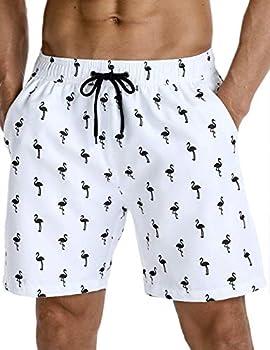 Nonwe Men s Beachwear Flamingo Pattern Summer Vacation Loose Sports Swim Trunks White 36