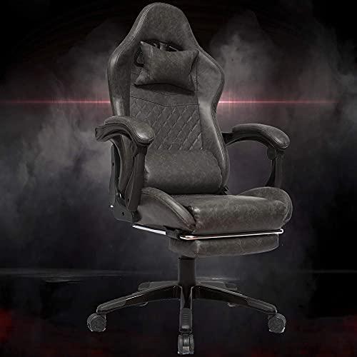 Gtracing Chair Gaming, Silla para Juegos, balancín Giratorio para Oficina, Carrera, Juego de computadora, Silla de Cuero con reposapiés (Gris)