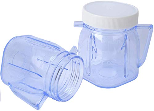4937 Mini Blender Jar Accessory for Oster, 1-Cup mini plastic jars with lids, 2 Packs
