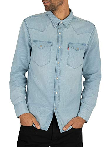 Levi's de los Hombres Camisa Occidental de Barstow, Azul, XL