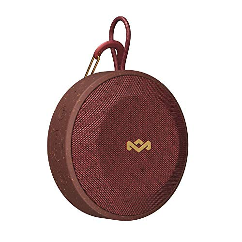 House of Marley, No Bounds Outdoor Speaker 10-Hour Battery, Water & Dust-Proof , IP67, Buoyant, Carabiner, Quick Charge, Charging Cable, Aux-In, Wireless Dual Speaker Pairing, Speaker phone Red