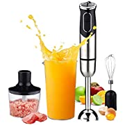 Hand Blender,PowerLead Powerful 600W 4-in-1 Immersion Blender with 8 Variable Speed Control and Button,Includes Stainless Steel Blade,Shaft & Egg Whisk,600ml Beaker