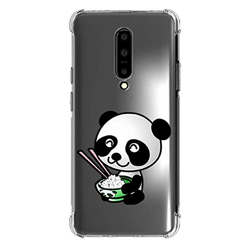 Clear TPU Case for oneplus 7 pro - Animal Panda Pattern Slim Soft Cover TPU Bumper Screen Protector Cute Funny Girl Women Design Funny Protective case Anti-Scratch, Clear Case for oneplus 7 pro-13
