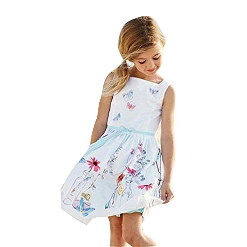 LILICAT Enfants Filles Strap Vêtements Enfants Floral Butterfly Print Princess Dress Élégant Fille Blanc Floral Papillon Princesse Robe (6 Ans)