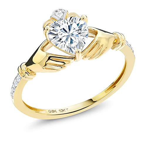10K Yellow Gold Solitaire Irish Celtic Claddagh Ring Forever Brilliant (GHI) Heart Shape 0.86cttw Created Moissanite by Charles & Colvard and Diamond (Size 7)