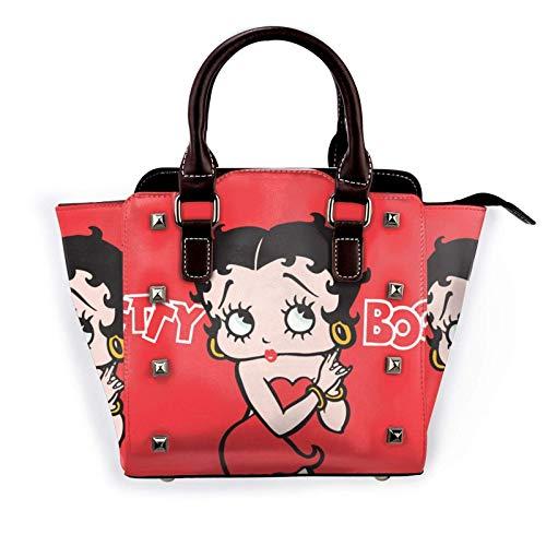 Betty Boop Poster Damen Pu Leder Niet Tote Umhängetasche Umhängetaschen Handtaschen Geldbörse mit verstellbarem Riemen