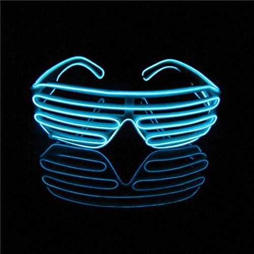 LERWAY Party Brillen Spielzeug EL Neon Draht Brille LED Partybrille Sonnenbrille Halloween Weihnachtsdekoration Neujahr Club Bar Disco Kostüm Geburtstag Dekoration (Hellblau)