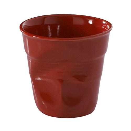 Revol RV636513 Tasse Cappuccino Froissé, Porcelaine, Rouge, 8,5 x 8,5 x 8,5 cm