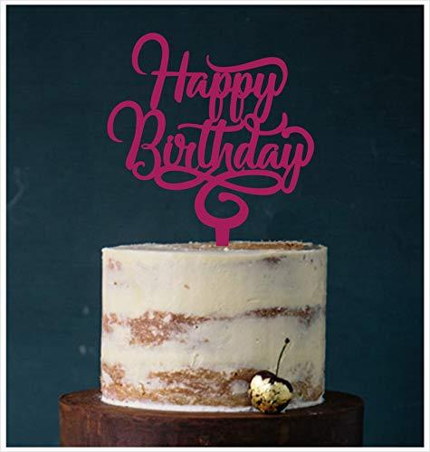 Manschin-Laserdesign Cake Topper, Happy Birthday Geburtstagstopper Tortentopper, Tortenstecker Geburtstag, Tortefigur Acryl, Farbwahl (Beere)