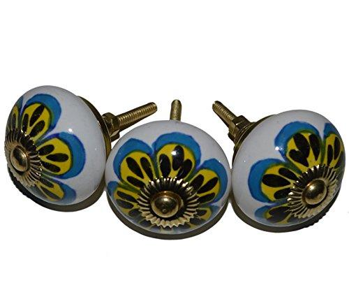 Meubelknoppen meubelknop meubelgreep keramiek porselein handgeschilderd vintage meubelknoppen voor kast Indisch 54 4 cm blauw