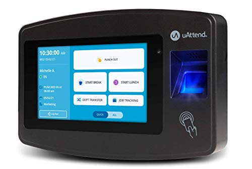 uAttend Cloud-Connected Touchscreen Time Clock with Finger Scan, RFID and PIN Punching in One (JR2000)