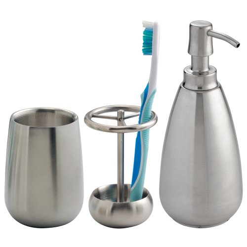 iDesign Nogu Metal Countertop Accessory Set, Soap Dispenser Pump, Toothbrush Holder, and Tumbler Set for Master, Guest, Kids Bathroom, 11.63 x 8.63 x 5, Brushed Stainless Steel