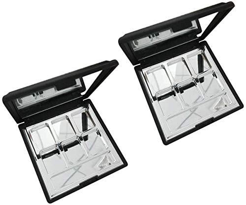 DYB (Zweiteilige) Modern Fashion Leer 6 Aluminiumquadratmaschen-Augen-Schatten-Lippenstift-Puder-Kasten-Kasten-Verfassungs-Palette Mit HD-Schönheits-Spiegel
