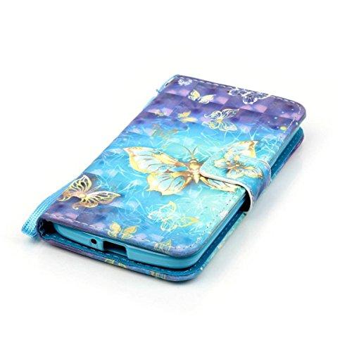 Meeter LG K5 Handyhülle, LG K5 PU Leder Hülle, PU Lederhülle Schutzhülle Magnetverschluss Ledertasche mit Stander Function Brieftasche Card Slot Handy Tasche mit Goldschmetterling Gemal