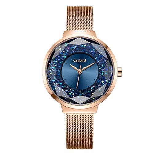 Damenuhr, Starry Diamond Beautiful Sky Dial, Starry Quarzuhr Wasserdichte Mode Lässig Damenuhr, Mädchenuhr Mesh Armband Metall,E