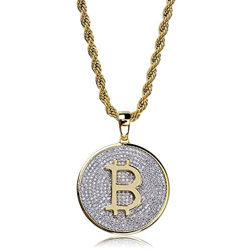 VAWAA Gold Farbe iced Out runde Micro Pave voll kubikzircon Big Bitcoin anhänger Halskette Charme für männer Frauen Hiphop schmuck kubanischen Kette 18 Zoll
