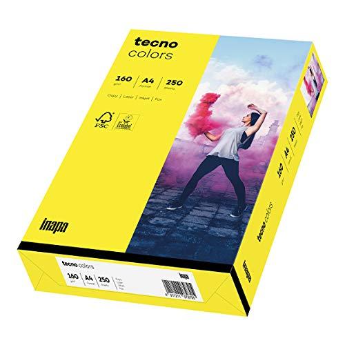 inapa farbiges Druckerpapier, buntes Papier tecno Colors: 160 g/m², A4, 250 Blatt, gelb, 2100011363_R
