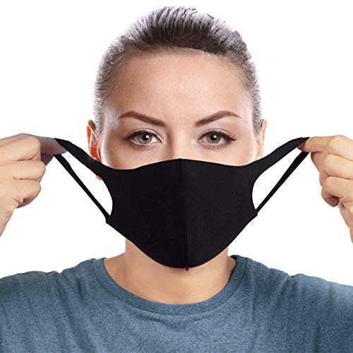 Fashion Face Scarf Masks Double Layer Black for Men and Women 100% Cotton Fabric Washable Reusable Fashion Face Mask Black - Quality Secured from REAL Seller Eurono1home - Shipped by Amazon ONLY!!!