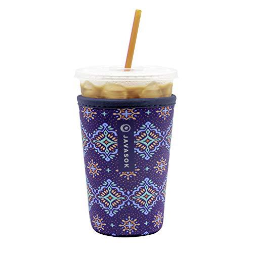 Java Sok Reusable Neoprene Insulator Sleeve for Iced Coffee Cups (Diamond Back, Medium, 24-28oz)
