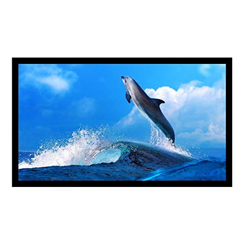 Antra 16:9 Fixed Frame Projector Projection Screen Matt Silver PVC Material 3D HD Compatible for Home Theatre Office Presentation (133' / 16:9, PVC Silver)