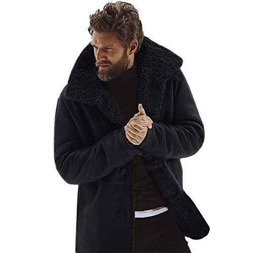 WuWangHai Herren Wintermantel Wollmantel Warm Winter-Jacke Steppjacke Revers Parka Outwear Oberbekleidung Herren Mantel Faux Pelzmantel Teddy-Fleece Mantel Fleecejacke
