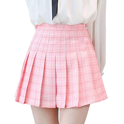 Mxssi Girls Fashion Cintura Alta Falda Plisada Wind Cosplay Falda Cuadros Faldas Kawaii Mujer