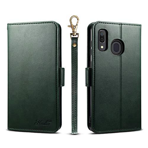 Galaxy A30 ケース 手帳型 SCV43 ギャラクシーa30 カードケース サイドマグネット スタンド機能 Galaxy A30 SCV43 スマホケース 財布型 カバー グリーン Galaxy A30 対応