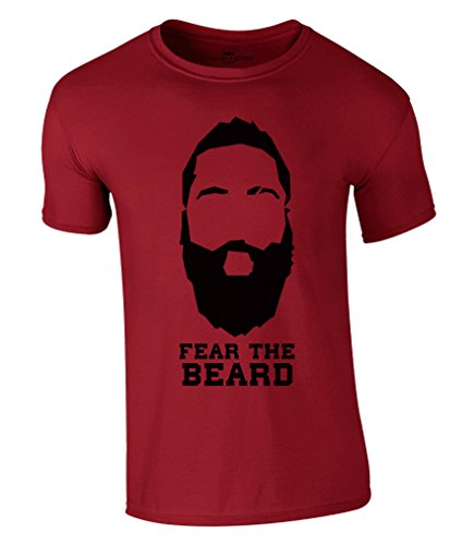 Fear The Beard T-Shirt 2017 New James Harden Houston Rockets NBA (L, Rot)