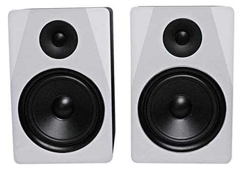"Rockville APM8W 8"" 2-Way 500W Active/Powered USB Studio Monitor Speakers Pair, White"