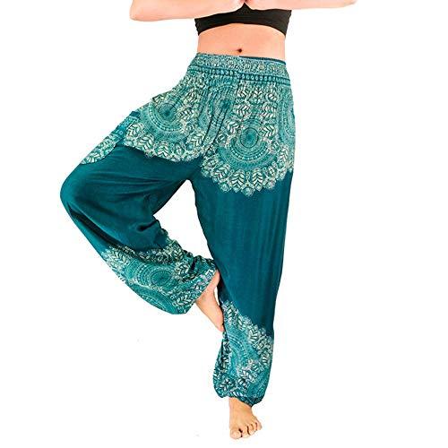 WUSIKY Haremshose Damen Sommerhose Damen Leicht Pumphose Culottes Hosen Boho Festival Hippy Yoga mit Hoher Taille Umstandshose Hippie Kleidung Haremshosen Frauen Aladinhose (Blau, Freie Größe)