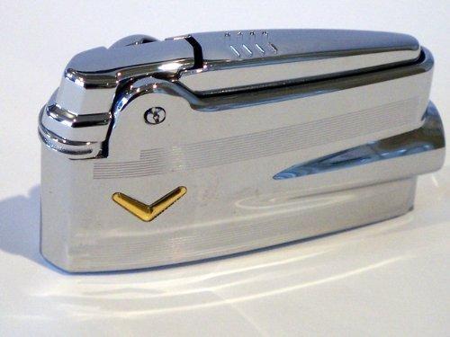 Ronson Varaflame Feuerzeug, Chrom, mit goldfarbenem Rand, in Geschenkbox