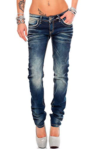 Cipo & Baxx Damen Slim Fit Jeans Hose Hüftjeans Skinny Stretch, Blau, 25W / 32L