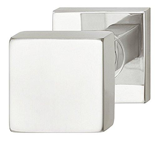 Design Türbeschlag Edelstahl Haustür-Griff fest Haustür-Knopf feststehend poliert auf runder Rosette | Modell LDK 213 | Knopf-Ø 53 mm | Knauf für Außen- & Innenbereich | Baubeschläge von JUVA®