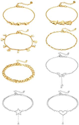 YADOCA 8Pcs Boho Anklets for Women Girls Silver Gold Ankle Bracelets Set Cute Charms Butterfly Anklet Adjustable Chain Foot Jewelry