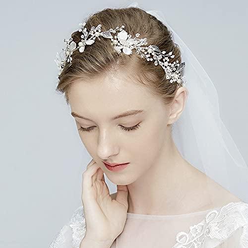 Tocado de flores para novia, diadema de boda de cristal, flores con...