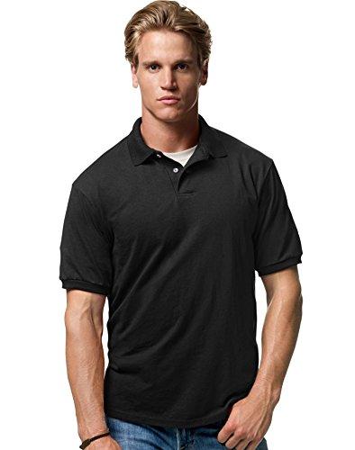 Hanes Cotton-Blend Jersey Men's Polo Black