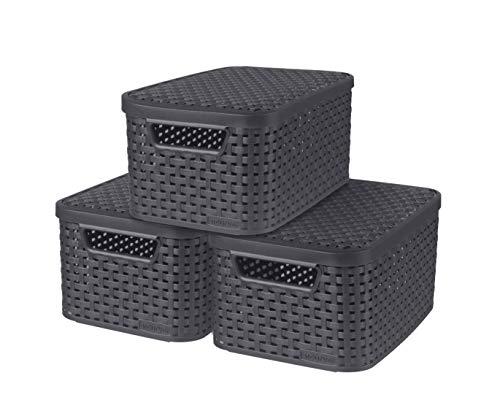 Curver Style Set met 3 manden met deksel, maat S, 7 l, antraciet