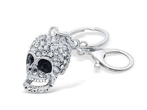Totenkopf Schlüsselanhänger mit Zirkonia Strasssteine Skull Head Charme Anhänger für Schlüsselbund Auto Kfz Handtasche