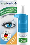 Augentropfen gegen trockene, rote, müde Augen mit Hyaluron [NEU2021] leichte Gel-Konsistenz, unkonserviert - YogaMedic® Made in Germany 10ml Kontaktlinsen geeignet