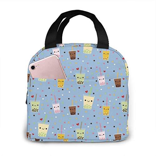 TTmom Happy Boba Bubble Tea - Bolsa isotérmica para almuerzo, para mujeres, niñas, niños, para picnic, para llevar a la comida y para ir de camping o de pesca