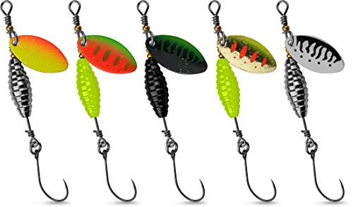 Storfisk fishing & more 5er Set Forellen-Spinner mit Einzelhaken, UV-aktiv, superscharf