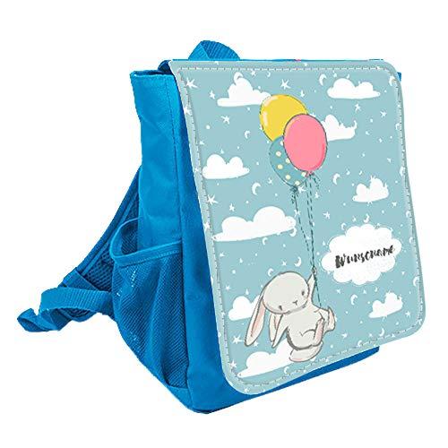 wolga-kreativ Kleiner Rucksack Kindergartentasche Mädchen Jungen Hase Luftballon Kinderrucksack Kindergartenrucksack Jungs Kinder mit Namen Tagesrucksack Kindergarten Kindertasche